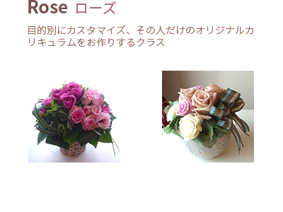 Rose<br><span>目的別にカスタマイズ、その人だけの オリジナルカリキュラムをお作りするクラス</span>