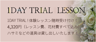 1DAY TRIAL ! 体験レッスン随時受け付け